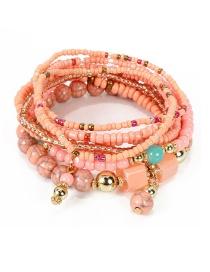 Fashion Pink Multi-layer Rice Bead Bracelet