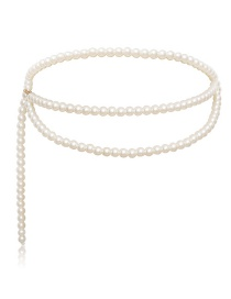 Fashion Single Pearl White Geometric Chain Multi-layer Tassel Pearl Waist Chain