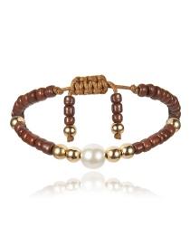 Fashion Brown Geometric Pearl Rice Bead Adjustable Bracelet