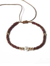 Fashion Brown Geometric Pearl Rice Beads Adjustable Anklet
