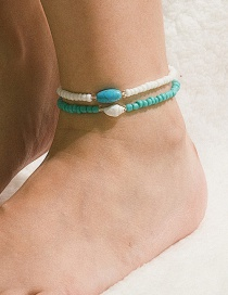 Fashion Set White + Blue Elastic Geometric Conch Shell Turquoise Beaded Anklet