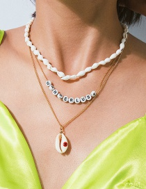 Fashion Gold Conch Geometric Multi-layer Letter Shell Necklace
