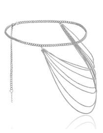 Cadena De Cintura Con Borla De Múltiples Capas Geométrica En Forma De U
