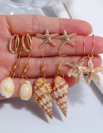 Fashion Gold Alloy Conch Shell Starfish Stud Earrings 5 ??pairs Set