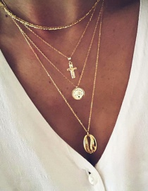 Fashion Gold Alloy Multi-layer Cross Letter Love Necklace
