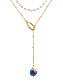 Fashion Dark Blue Natural Stone Pearl Chain Natural Stone Double-layer Necklace