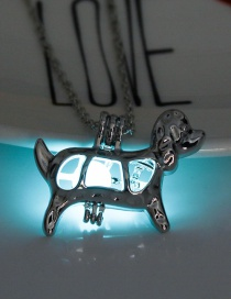 Fashion Blue Green Luminous Beads Open The Puppy Necklace