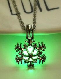 Fashion Yellow Green Snowflake Openwork Luminous Pendant