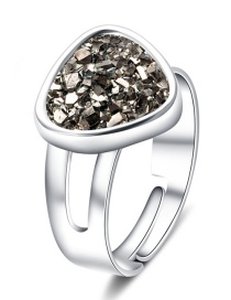 Fashion Silver + Gray Cluster Love Crystal Cluster Natural Stone Ring