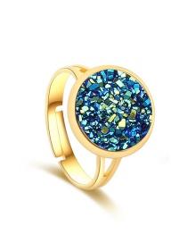 Fashion Gold + Dark Blue Natural Crystal Cluster Adjustable Ring