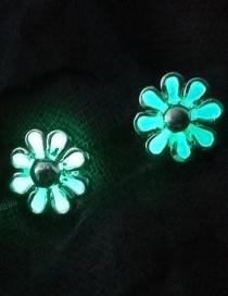 Fashion Blue Green Hollow Small Zou Ju Luminous Stud Earrings