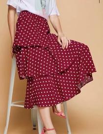 Fashion Red Wine Polka Dot Half-length Cake Skirt