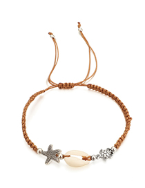 Fashion Brown Woven Turtle Starfish Shell Single Layer Bracelet