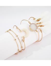 Fashion Gold Horns Turquoise Shell Fringe Bracelet (5 Pieces)