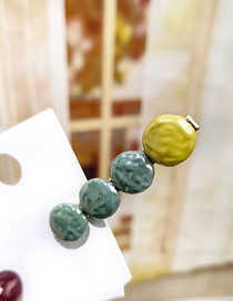 Fashion Yellow + Dark Green Button Color Matching Duckbill Clip Geometric Round Square Hair Clip