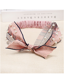 Fashion Pink Lace Pearl Color Band Lace Bow Rabbit Ears Hair Band