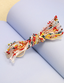 Fashion Red And Yellow Orchid Color Matching Bow 8cm Duckbill Clip Cloth Bow Clip