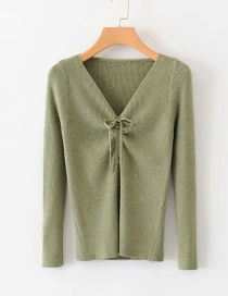 Fashion Green Drawstring Sweater On The Chest