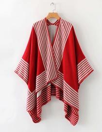 Fashion Red Striped Shawl