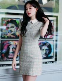 Fashion Blue Woven Woollen Lapel Dress