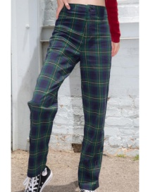 Fashion Dark Green Plaid Trousers