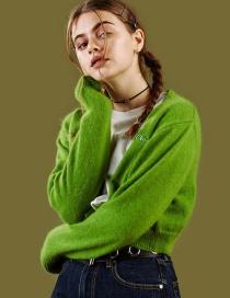 Fashion Green V-neck Knit Cardigan