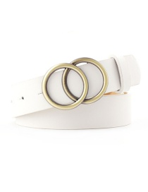 Fashion White Round Buckle Belt