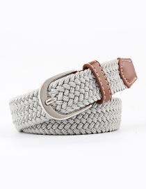 Fashion Light Gray Elastic Braided Waistband