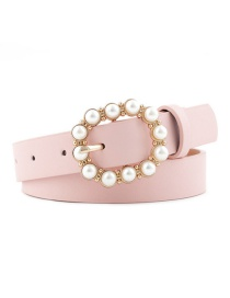 Fashion Pink Leather Pearl Belt