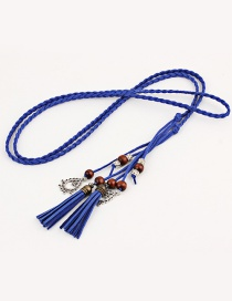 Fashion Sapphire Braided Tail Knotted Belt