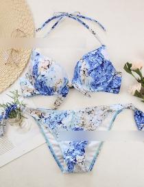 Fashion Blue Lemon Print Hard Pack Split Swimsuit