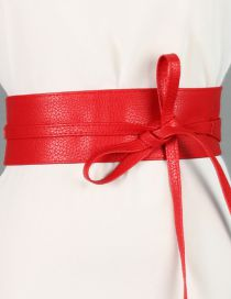 Fashion Red Wide Streamer Bow Two-ring Belt