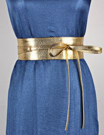 Fashion Local Gold Wide Streamer Bow Two-ring Belt