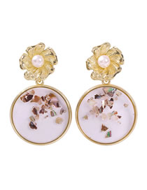 Fashion Round Pearl Alloy Resin Transparent Flower Earrings