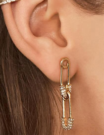 Fashion Gold Alloy Diamondd Paper Clip Earrings