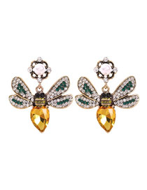 Fashion Yellow Alloy Studded Bee Stud Earrings