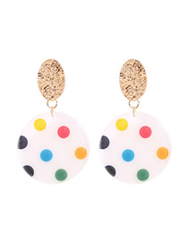 Fashion Color Alloy Resin Round Wave Earrings