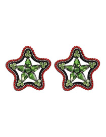 Fashion Green Alloy Studded Five-pointed Star Stud