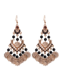 Fashion Black Alloy Rice Beads Geometric Earrings