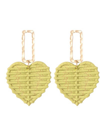 Fashion Green Alloy Rattan Love Earrings