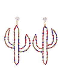 Fashion Color Alloy Diamond Colored Cactus Earrings