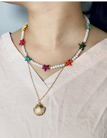Fashion Gold Alloy Pearl Starfish Shell Double Necklace