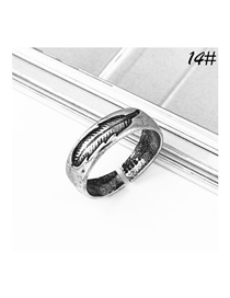 Fashion Ancient Silver Feather Open Ring