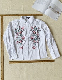 Fashion White Embroidered Long Sleeve Shirt