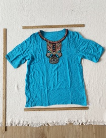 Fashion Blue Embroidered Ethnic Top