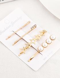 Fashion Gold Five Star Pearl Hairpin Set