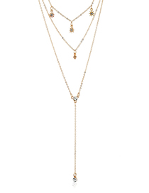 Fashion Gold Star-studded Multi-layer Necklace