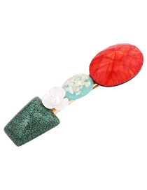 Fashion Red Flower Geometric Gemstone Hair Clip