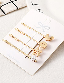 Fashion Gold Love Smiley Hair Clip Set