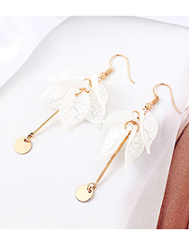 White Leaf Tassel Earrings